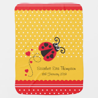 Cute ladybug yellow red custom name date blanket