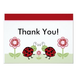 Cute Ladybugs & Flowers Thank You Card 13 Cm X 18 Cm Invitation Card