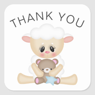 Cute Lamb and Teddy Bear Thank You Square Sticker