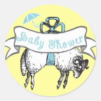 Cute Lamb Baby Boy Shower Sticker