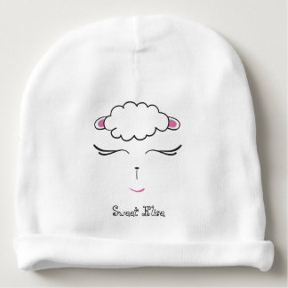 Cute Lamb face, pink and white Baby Beanie