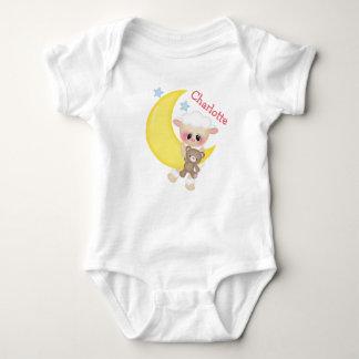Cute Lamb on Crescent Moon with Monogram Baby Bodysuit