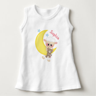 Cute Lamb on Crescent Moon with Monogram Dress