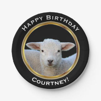 Cute Lamb on Faux Gold Happy Birthday with Name Paper Plate