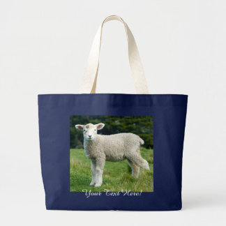 Cute Lamb with Muddy Face in Meadow Personalizable Large Tote Bag