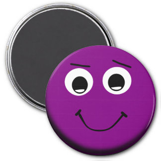 Cute Large Purple Smiley Face Magnet