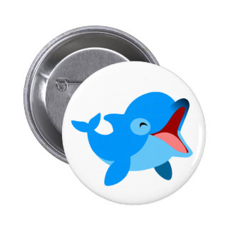 Cute Laughing Cartoon Dolphin 6 Cm Round Badge