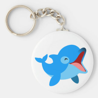 Cute Laughing Cartoon Dolphin Basic Round Button Key Ring