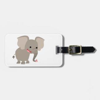 Cute Laughing Cartoon Elephant Luggage Tag