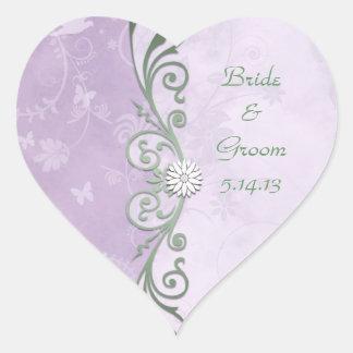 Cute Lavender and Green Wedding Heart Sticker