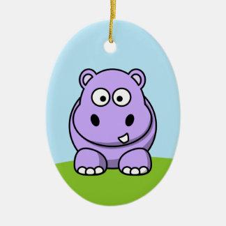 Cute Lavender Hippo Ceramic Ornament