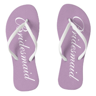 Cute lavender purple bridesmaid wedding flip flops
