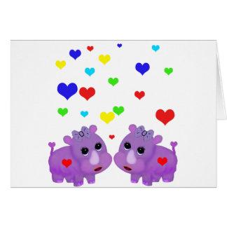 Cute Lavender Rhino Rainbow Heart Rhinoceros GLBT Greeting Cards