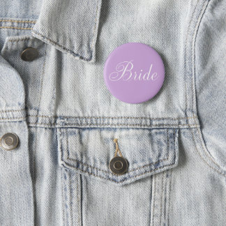 "Cute Lavender Script Typography ""Bride"" 6 Cm Round Badge"