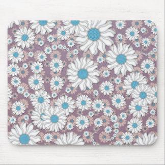 Cute Lavender White Blue Fantasy Daisies Mouse Pad