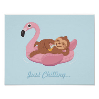 Cute Lazy Sloth on Pink Flamingo Float Print