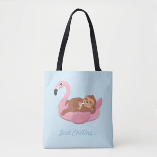 Cute Lazy Sloth On Pink Flamingo Float Summer Tote