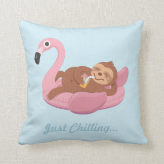 Cute Lazy Sloth Pink Flamingo Float Summer Pillow
