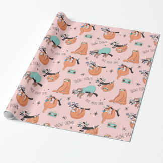 Cute Lazy Sloths Pink Gift Paper