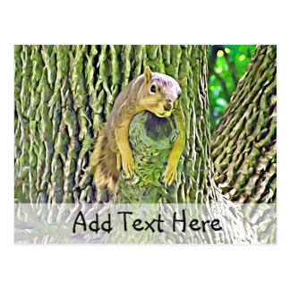 Cute Lazy Squirrel Relaxing in a Tree Postcard