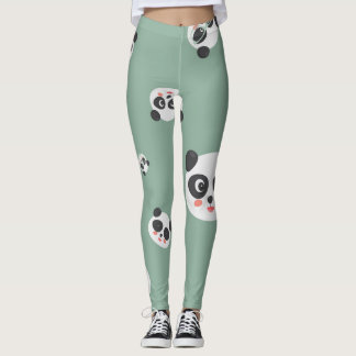 Cute Leggings with funny happy pandas faces.