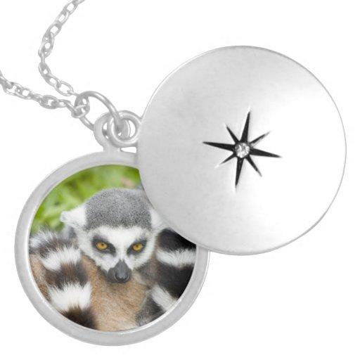 Cute Lemur Stripey Personalized Necklace