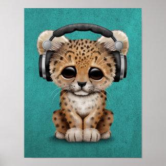 Cute Leopard Cub Dj Wearing Headphones on Blue Poster