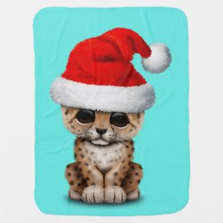 Cute Leopard Cub Wearing a Santa Hat Baby Blanket