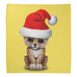 Cute Leopard Cub Wearing a Santa Hat Bandana