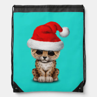 Cute Leopard Cub Wearing a Santa Hat Drawstring Bag