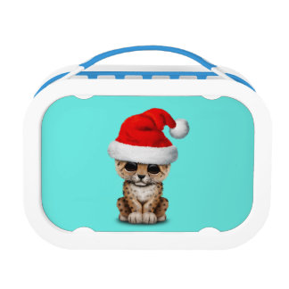 Cute Leopard Cub Wearing a Santa Hat Lunch Box