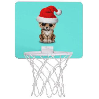 Cute Leopard Cub Wearing a Santa Hat Mini Basketball Hoop