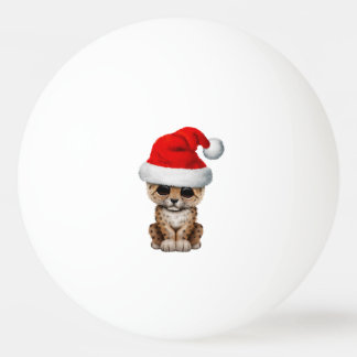 Cute Leopard Cub Wearing a Santa Hat Ping Pong Ball