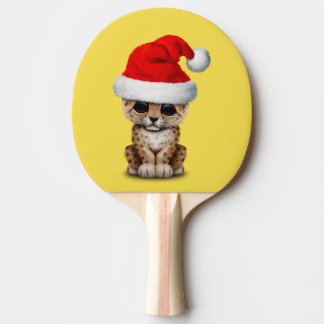 Cute Leopard Cub Wearing a Santa Hat Ping Pong Paddle
