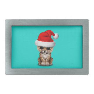 Cute Leopard Cub Wearing a Santa Hat Rectangular Belt Buckle