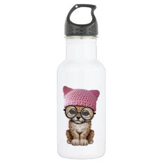 Cute Leopard Cub Wearing Pussy Hat 532 Ml Water Bottle