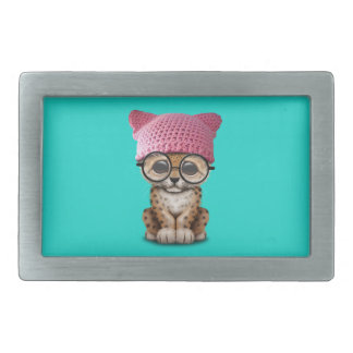 Cute Leopard Cub Wearing Pussy Hat Belt Buckle