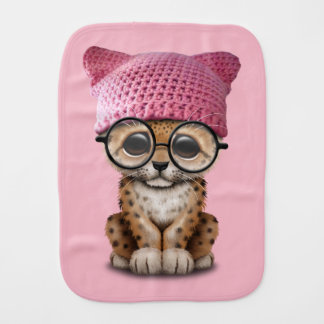 Cute Leopard Cub Wearing Pussy Hat Burp Cloth