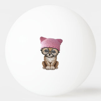 Cute Leopard Cub Wearing Pussy Hat Ping Pong Ball