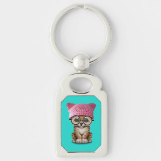 Cute Leopard Cub Wearing Pussy Hat Silver-Colored Rectangle Key Ring