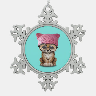 Cute Leopard Cub Wearing Pussy Hat Snowflake Pewter Christmas Ornament