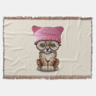 Cute Leopard Cub Wearing Pussy Hat Throw Blanket