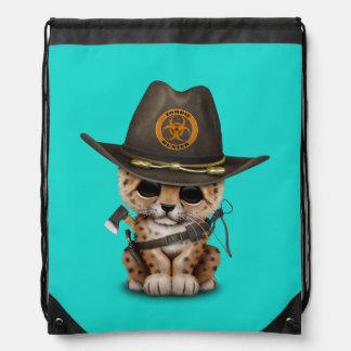 Cute Leopard Cub Zombie Hunter Drawstring Bag