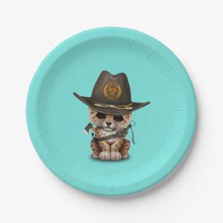 Cute Leopard Cub Zombie Hunter Paper Plate