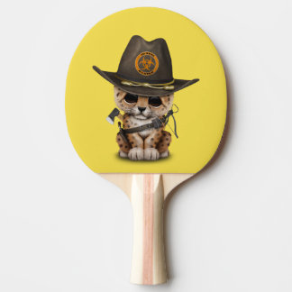 Cute Leopard Cub Zombie Hunter Ping Pong Paddle