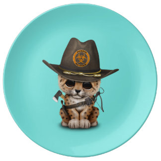Cute Leopard Cub Zombie Hunter Plate