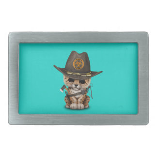 Cute Leopard Cub Zombie Hunter Rectangular Belt Buckle