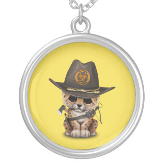 Cute Leopard Cub Zombie Hunter Silver Plated Necklace