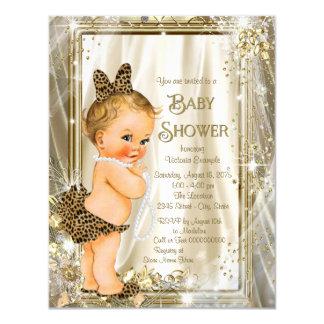Cute Leopard Pearl Baby Girl Shower 11 Cm X 14 Cm Invitation Card