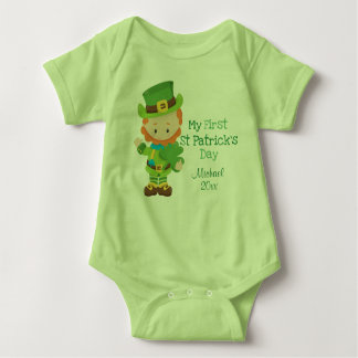 Cute Leprechaun First St Patrick's Day Baby Bodysuit